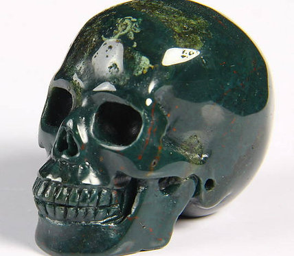 Activated Bloodstone Crystal Skull - Magick, Grounding, Prosperity, protection