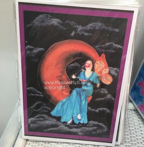 5x7 Print Crescent Moon Art Deco Fairy drinking Tea Midnight Collection