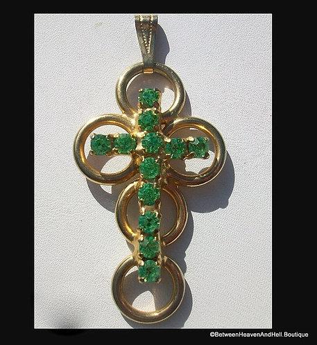 Vintage Green Rhinestone Cross Pendant Gold Tone, religious Jewelry