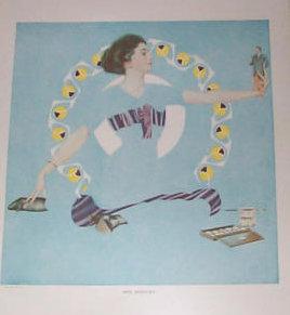Vintage 1910's Coles Phillips Fade Away Girl Print Romance