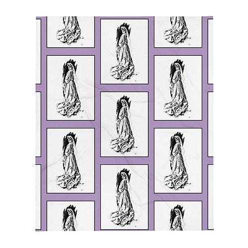 Victorian Wedding Bride Throw Blanket Purple Black and White Bridal Gift