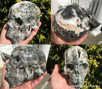 """5"""" Rare Bubbly Druzy Ocean Jasper Activated Master Crystal Skull Quartz Geode"""