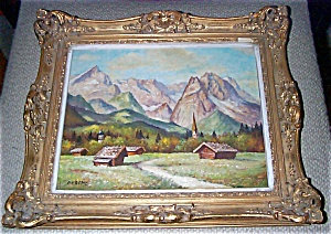 Mountain & Valley Landscape Oil Painting On Board Signed