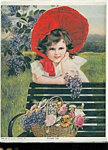 Vintage Print: Children ; Girl W/ Flowers Red Bonnet