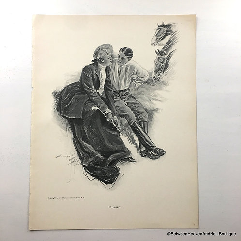 Antique Equestrian Art Prints: Lady Man Horses Harrison Fisher