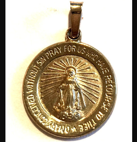 14k Gold Miraculous Medal Pendant Our Lady Of Grace & Miracles Catholic Jewelry
