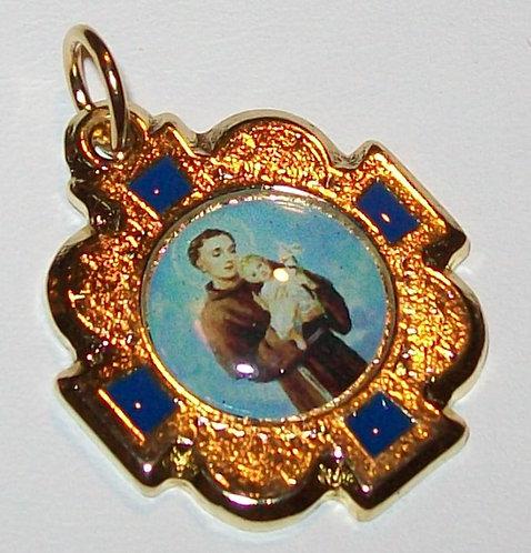 Religious Jewelry, Saint Anthony Medal Baby Jesus Pendant Gold & Blue Enamel