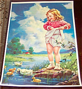 Vintage Mabel Rollins Harris Print Children Girl Ducks