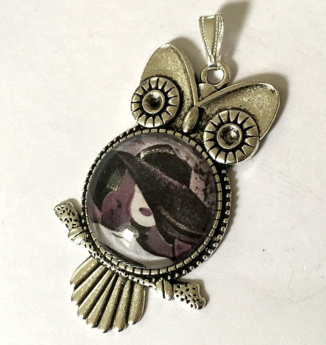 Art Cameo Jewelry BOHO Chic Handpainted Owl Pendant Sexy Witchy Woman Moonlight