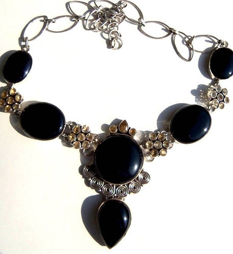 Large Black Onyx and Citrine Gemstone Necklace - Sterling Silver