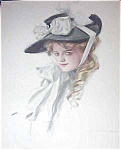 Harrison Fisher Print Victorian Lady In Big Hat