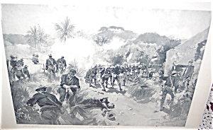 Antique War Prints Howard Chandler Christy Battle Scene