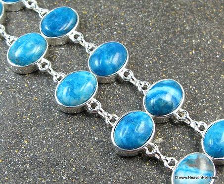 Wide Blue Agate Silver Bracelet, Ladies Silver Gemstone Jewelry