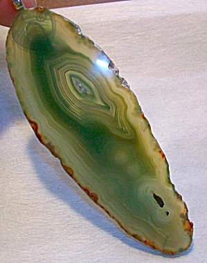 Huge Long Green Agate Slice Pendant, Druzy Center