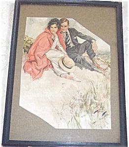 Vintage Harrison Fisher Print: Beach Romance 1914