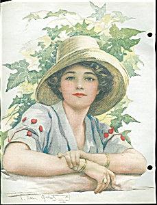 C. Allan Gilbert Print 1912 Beautiful Lady Victorian Scrapbook