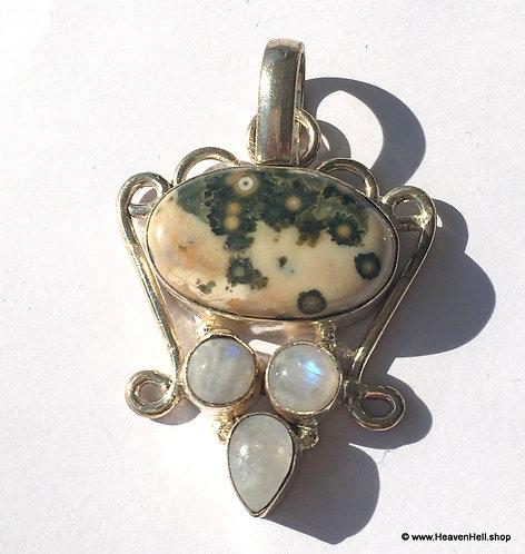 Vintage Orbicular Ocean Jasper And Moonstone Pendant Sterling Silver jewelry