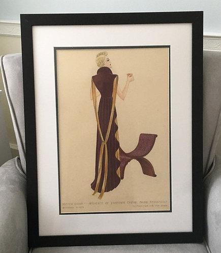 Vintage 1930's Art Deco Fashion Lady having Tea Watercolor Painting
