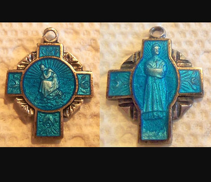 Rare Vintage French Cross Medal Blue Enamel Guilloche Our Lady Of Lasalette