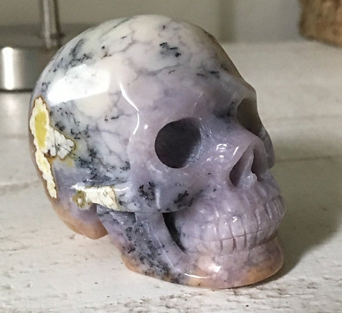 Rare Purple Sage Dendritic Agate Crystal Skull - Connect with Spirit Guide