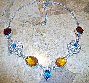 Honey Quartz Garnet Topaz Sterling Silver Multi-gem Necklace
