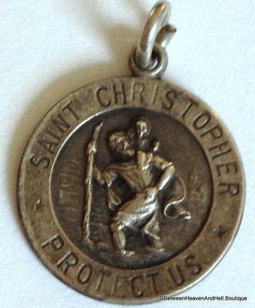 Vintage Religious Sterling Silver St. Christopher Medal Mens Ladies