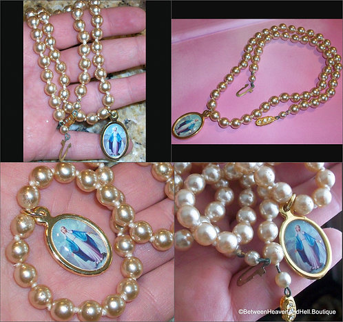 Vintage Beige Pearl Necklace Virgin Mary Miraculous Medal Our Lady of Grace