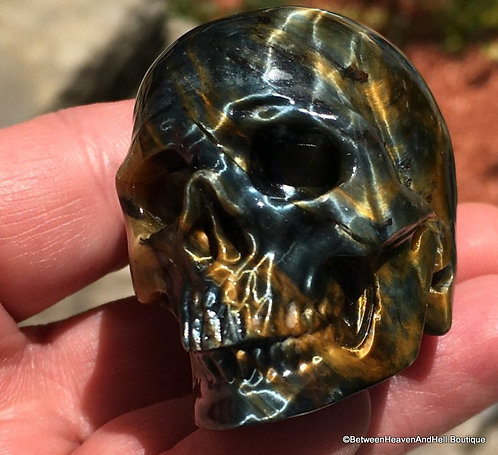 Activated Blue Tiger Eye Crystal Skull Clairvoyance Automatic Writing Hawks Eye