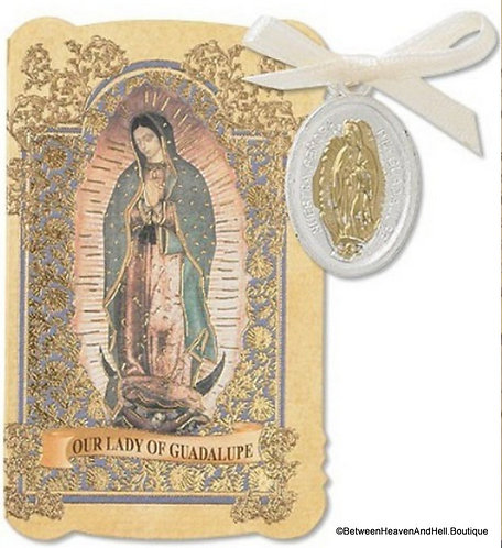Religious Gifts, 2 Tone Holy Medal and Prayer Card Folder Our Lady Of Guadalupe