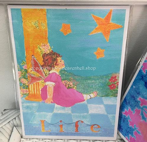Wonderful Life Altered Art Print - 5x7 Fairy gazing at the Stars
