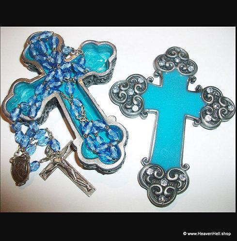 Rhinestone Blue Enamel Cross Rosary Box Case Glass Rosaries Catholic Gifts, Rome