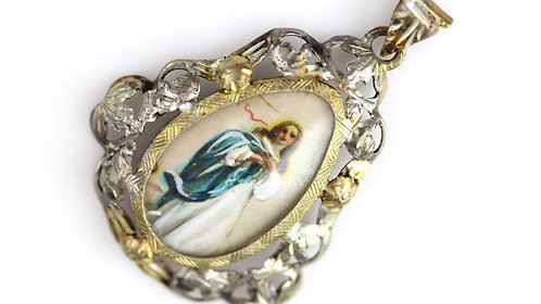Antique .800 Silver Handpainted Virgin Mary Cameo Pendant