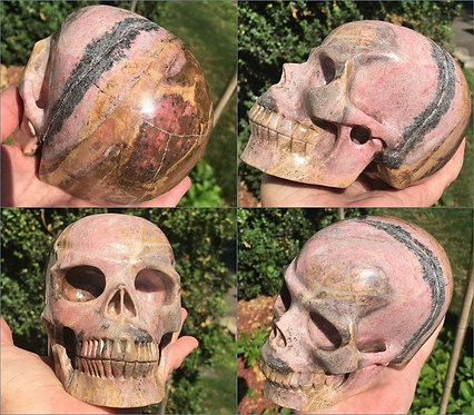 "5.2"" Large Activated Pink Rhodonite Crystal Skull, Attract Love Energy Generator"