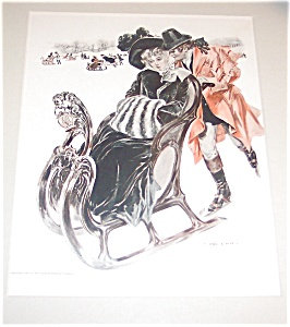 Vintage Print: Winter Sled Ice Skating Romance Henry Hutt