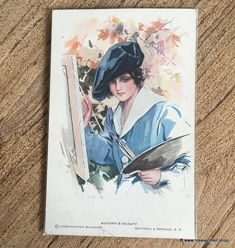 Vintage 1910's A/s Postcards: Harrison Fisher Autumns Beauty Lady Painting