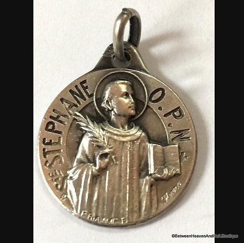 Vintage French Sterling Silver Signed Medal Saint Stephen Stephane