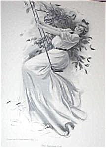 Original Harrison Fisher Print Summer Girl Victorian Garden