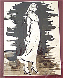 Fashion Painting: Pen & Ink Dress, Shoes 1940