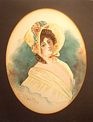 Antique 1900's Watercolor Painting Victorian Woman Flower Hat