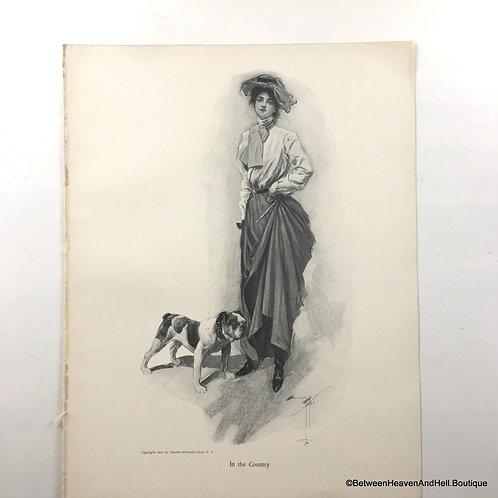 1903 Vintage Print, Country Victorian Woman Art, Bulldog Artwork