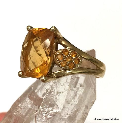 Vintage Large 14k Ring Cushion Cut Cognac Honey Citrine w/ Diamond accents
