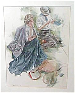Vintage Harrison Fisher Print Fishermans Luck Fishing Romance