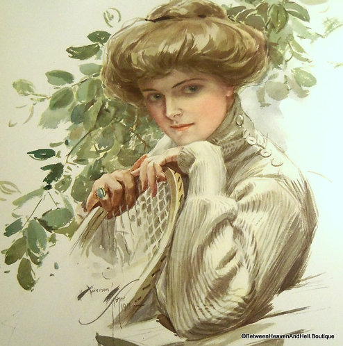 Antique Print Victorian Lady tennis Player 16x20 matted Vintage Art