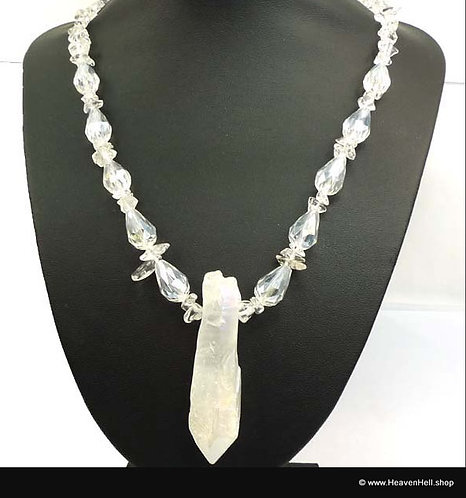 Angel Opal Aura Quartz Point Necklace, Handcrafted Beaded Jewelry