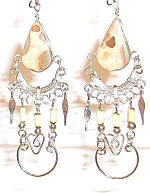 Long Dangle Earrings Leopard Skin Jasper Silver