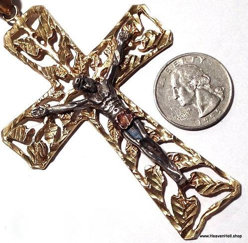 "XL Large 4"" Crucifix Cross Vintage Christian Pendant Religious Statement Jewelry"