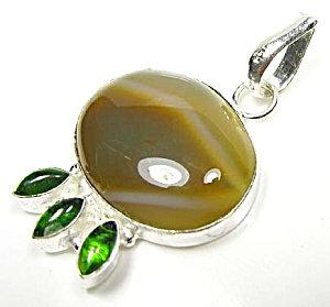 Agate And Peridot Quartz Pendant .925 Sterling Silver