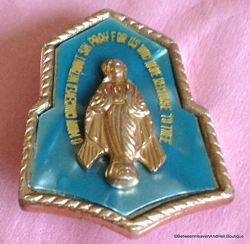 Vintage Miraculous Medal Blue Celluloid Pin Virgin Mary