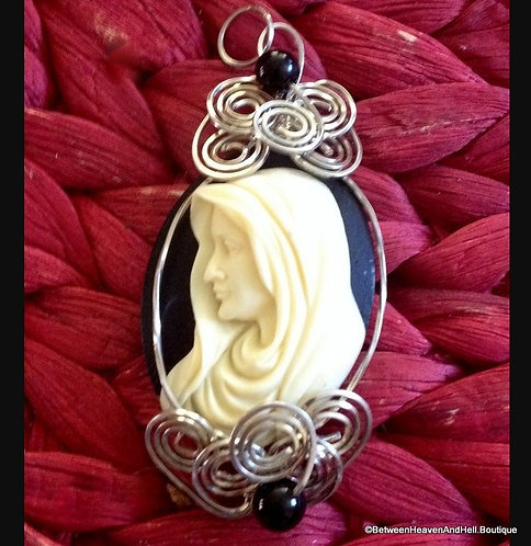 Mother Mary Sterling Silver Wire Wrapped Virgin Mary Cameo Pendant, Madonna