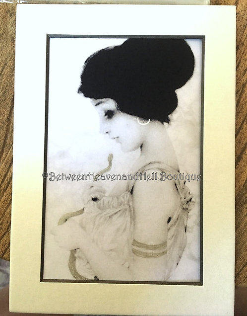 5x7 Black White Silver Giclee Art Print Lady w/ Snake Painted Accents